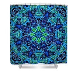 So Blue - 04v2 - Mandala Shower Curtain by Aimelle