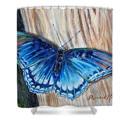 Shower Curtain featuring the painting So Blue by Bonnie Heather