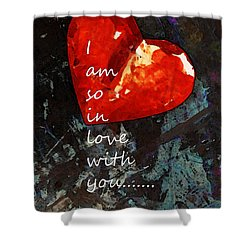 So In Love With You - Romantic Red Heart Painting Shower Curtain by Sharon Cummings