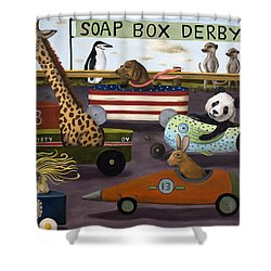 Soap Box Derby Shower Curtain by Leah Saulnier The Painting Maniac