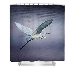 Soaring Egret Shower Curtain