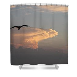 Shower Curtain featuring the photograph Soaring Over The Clouds by Robert Banach