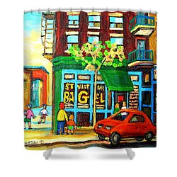 Soccer Game At The Bagel Shop Shower Curtain by Carole Spandau