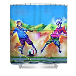 Soccer Graffiti Shower Curtain by Theresa Tahara