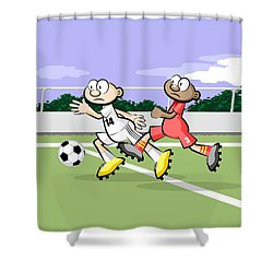 Soccer Players Running After The Ball Shower Curtain