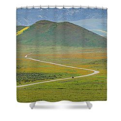 Soda Lake Road Shower Curtain by Marc Crumpler