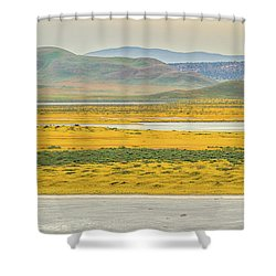 Soda Lake To Caliente Range Shower Curtain by Marc Crumpler