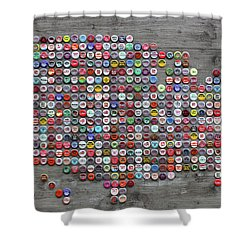 Soda Pop Bottle Cap Map Of The United States Of America Shower Curtain by Design Turnpike