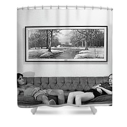 Sofa-sized Picture, With Light Switch, 1973 Shower Curtain