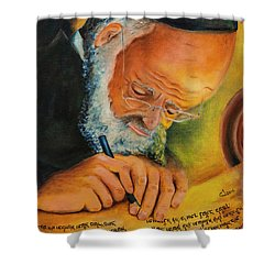 Shower Curtain featuring the painting Sofer Stam by Itzhak Richter