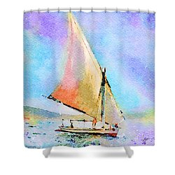 Shower Curtain featuring the painting Soft Evening Sail by Angela Treat Lyon