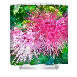 Soft Pink Flower Shower Curtain by Joan Reese