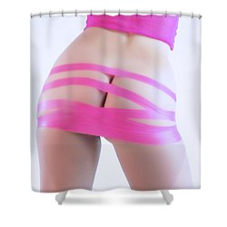 Soft Pink Tape Shower Curtain by Robert WK Clark