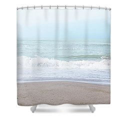 Shower Curtain featuring the mixed media Soft Waves 2- Art By Linda Woods by Linda Woods