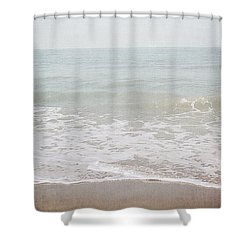 Shower Curtain featuring the mixed media Soft Waves- Art By Linda Woods by Linda Woods