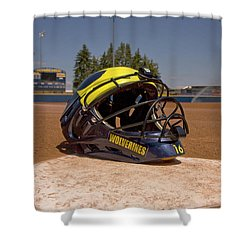 Softball Catcher Helmet Shower Curtain