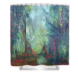 Softlit Forest Shower Curtain by Betty Pieper