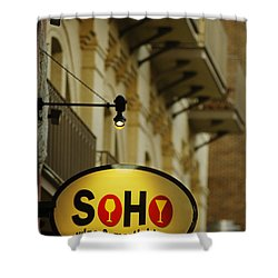 Soho Wine Bar Shower Curtain by Jill Reger