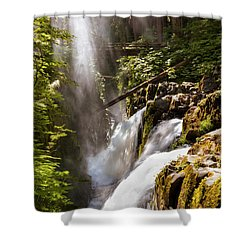 Shower Curtain featuring the photograph Sol Duc Falls by Adam Romanowicz