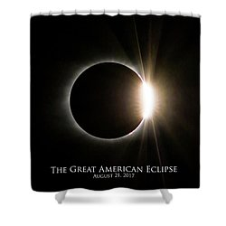 Shower Curtain featuring the photograph Solar Eclipse Diamond Ring With Text by Lori Coleman