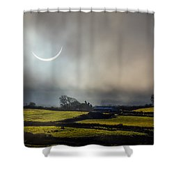 Solar Eclipse Over County Clare Countryside Shower Curtain