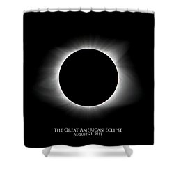 Shower Curtain featuring the photograph Solar Eclipse Ring Of Fire With Text by Lori Coleman