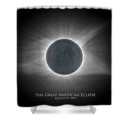 Shower Curtain featuring the photograph Solar Eclipse With Moon Detail And Text by Lori Coleman