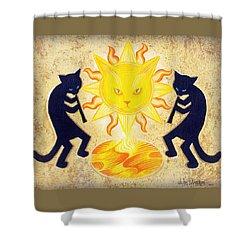 Solar Feline Entity Shower Curtain by John Deecken