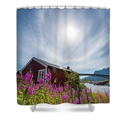 Solar Halo Above Rorbu Shower Curtain