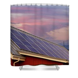 Solar Panels On Roof Of House Shower Curtain by David Gn