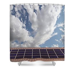 Solar Panels On Roof Top Shower Curtain by David Gn