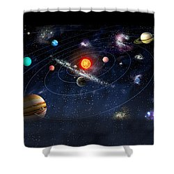 Solar System Shower Curtain by Gina Dsgn