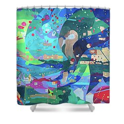 Shower Curtain featuring the painting Solar Wind by Denise Weaver Ross