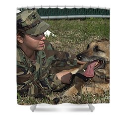 Soldier Gives Positive Reinforcement Shower Curtain by Stocktrek Images