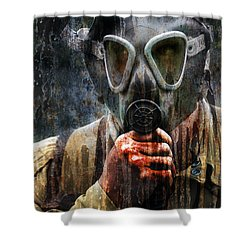 Soldier In World War 2 Gas Mask Shower Curtain