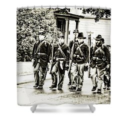 Soldiers Marching In Parade Shower Curtain