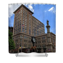 Soldiers Monument In Penn Square In Lancaster Shower Curtain