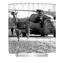 Soldiers Run To A Hh-53c Helicopter Shower Curtain by Stocktrek Images