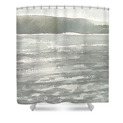 Soldis Over Glittrande Fjord - Sunlit Haze Over Glittering Water_0023 76x48cm Shower Curtain