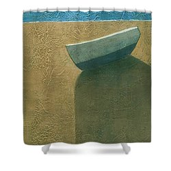 Solitary Boat Shower Curtain by Steve Mitchell