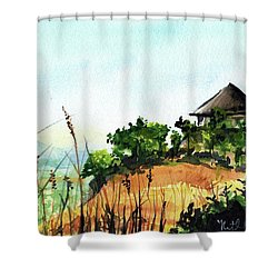 Shower Curtain featuring the painting Solitary Cottage In Malawi by Dora Hathazi Mendes