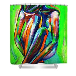 Solitary Figure Shower Curtain by Helena Wierzbicki