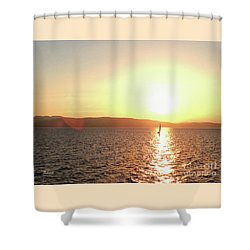 Solitary Sailboat Shower Curtain