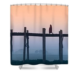 Solitary Walk Shower Curtain by Marji Lang