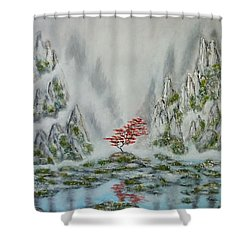 Shower Curtain featuring the painting Solitude by Amelie Simmons