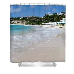 Solitude On Dawn Beach Shower Curtain by Margaret Bobb