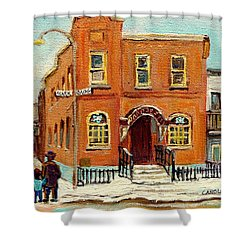 Solomons Temple Montreal Bagg Street Shul Shower Curtain by Carole Spandau