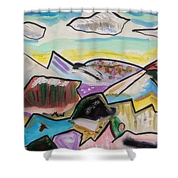 Shower Curtain featuring the painting Some Gold In The Hills by Mary Carol Williams