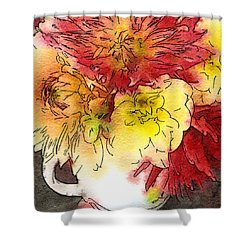 Shower Curtain featuring the photograph Some Summer Dahlias 2 by Ronda Broatch