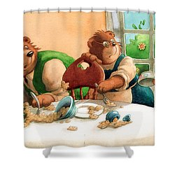 Someones Eaten My Porridge Shower Curtain by Andy Catling